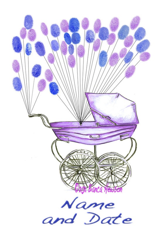 X Small Fingerprint Baby Shower Guest book, baby carriage pram with balloons 2 colors, Custom Order