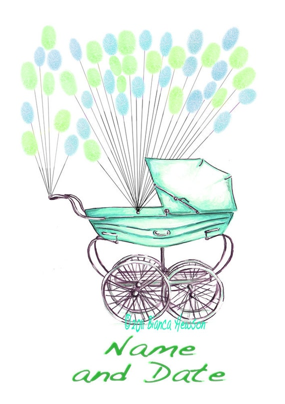 small Fingerprint Guest book, baby carriage pram with balloons 2 ink colors, Custom Order