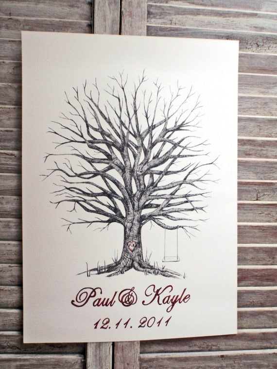 Medium Fingerprint Tree Wedding Guest book, Hand Drawn in ink, includes 2 ink pads and pen