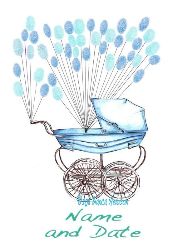 Medium Fingerprint Guest book,  baby carriage pram with balloons 2 colors, Custom Order