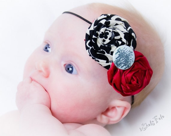French Chandelier Black and Red Rosette Headband, Rolled Rosette Paris Damask Print Boutique for Baby Girl, Toddler, Teen