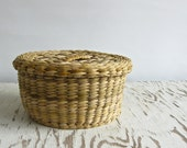 reserved 50% OFF SALE vintage woven reed basket with lid