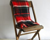 vintage plaid wool throw blanket