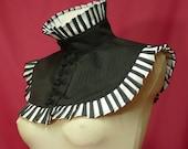 Gothic Version Of Arlequin, Victorian Neck Ruff for Carnival, Black White Collar,Halloween, Neck Piece Baroque and Commedia Dell Arte
