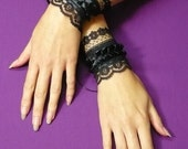 Gothic Cuffs with Flowered Lace, Vampire Wedding Wristlets, Textile Bracelets, Renaissance Steampunk Victorian, Corset, Gauntlets