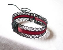 Baroque Choker, Lace and Burgundy Satin, Gothic, Victorian Halloween Costume Black and Dark Red, Elegant Regency Red Wine Necklace with Rose