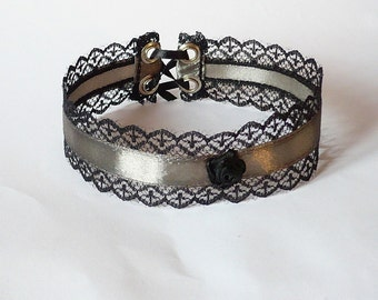 Baroque Choker with lace for Special Occasion, Gothic, Victorian Vampire, Gift for Her, Steel Grey, Regency Textile Necklace, Glamour
