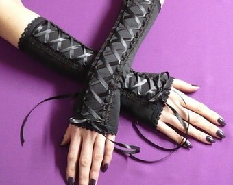 Laced Up Gloves Armwarmers Gothic Halloween Costume Arm Covers Dance Fusion Fingerless, Steampunk Corset J Rock, Neo Victorian Armstulpen