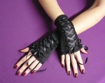 SALE Black short Fingerless Gloves armwarmers, Gothic Wedding Harajuku Cyber , Noir Mitaines,Laced Up Steampunk Gloves,Lolita Style, Corset