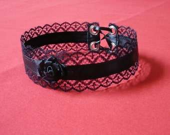 Baroque Choker with Lace, gothic, Victorian style, Gothic Lolita, black , Boudoir, Elegant textile Choker