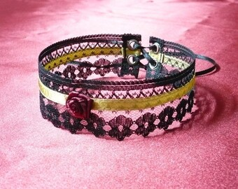 Baroque Lace Choker Black,Gold, Red Wine Color, Renaissance Necklace with Rose and Satin, Castle, Costume, Glamour, Textile Jewelry