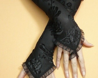 Black Armwarmers with Finger Loop, Fingerless Gothic Gloves with Organza Trim, Flowered Burnout, Fusion Dance, Retro, Evening Gloves
