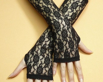 Retro Lace Gloves, Black Stretchy Armwarmers, Gothic, Vampire Style, Belly Dance, 80's Look, Costume,Fingerless