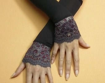 Retro Armwarmers Black Grey Burgundy Mix Stretchy Lace Steampunk Bohemian Evening Gloves Special Occasion Fingerless 20's, Victorian Stulpen