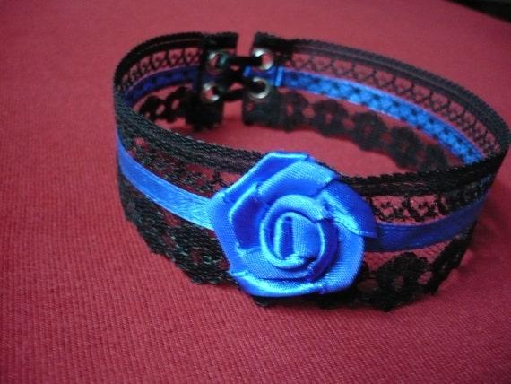 Burlesque Lace Choker  Black and Royal Blue, Baroque Necklace Gothic, Renaissance, Halloween,Baroque, Goth Wedding, Cobalt, Victorian