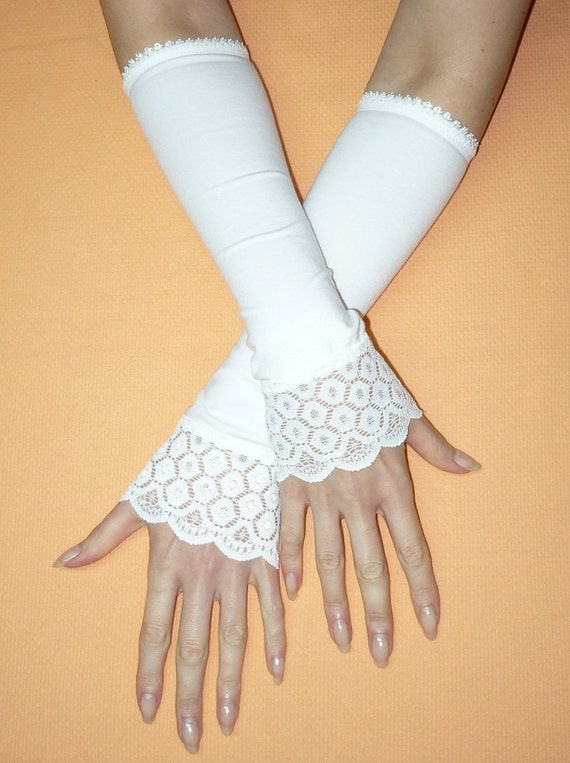 Romantic Regency Armwarmers White, Fingerless Wedding Gloves, Lace, Bridal, Ladies Sleeves, Special Occasion,Romantic, Elven, 50's Look