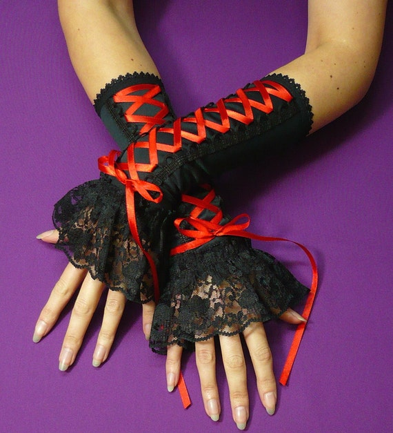 Laced Up Gloves with Lace Ruffle, Gothic Armwarmers in Corset Style, Corset,Vampire, Black with Red Satin