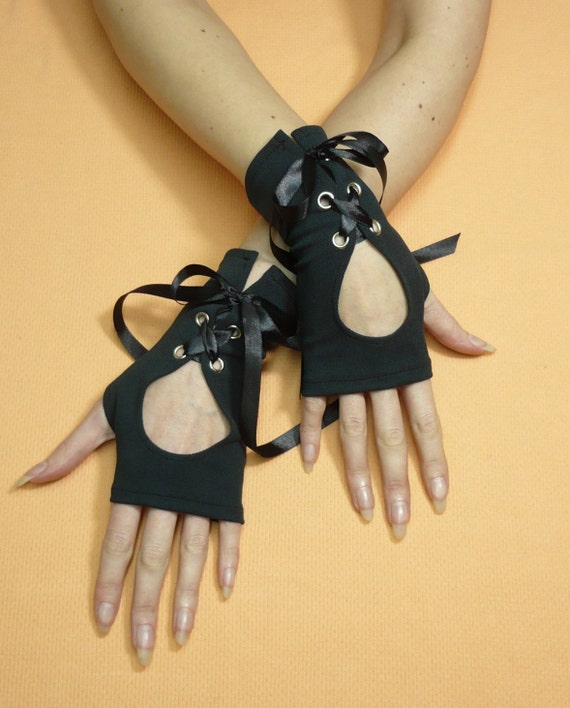 Black Gothic Gloves with Corset Closure, Jersey Armwarmers, Cyber Style, Laced Mittens, Fingerless, Neo Victorian