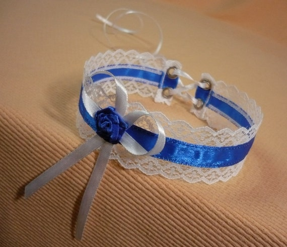 Regency Choker in White and Royal Blue, Lace and Satin Jewelry, Romantic Lolita Necklace, Cobalt, Renaissance Costume