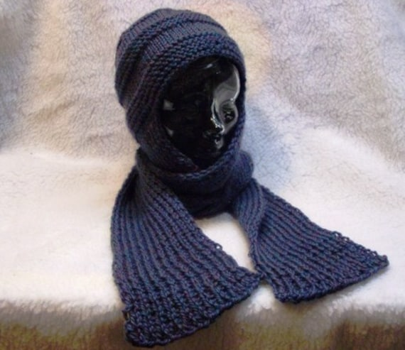 Knitting Pattern For Hat With Scarf Attached : Hat w/attached scarf