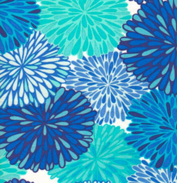 Flower Blooms Fabric in Cobalt Blue - Valori Wells Wrenly, Bloom in Cobalt - VW33-Cobalt - By the Yard