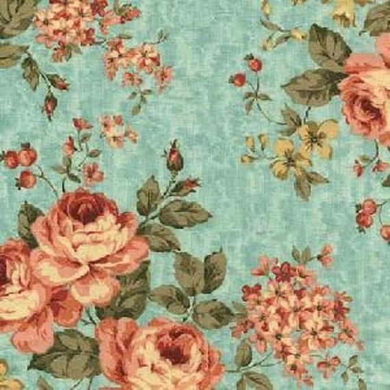 FAT QUARTER In the Manor,  Rose Bouquet in Blue, 3157b-55