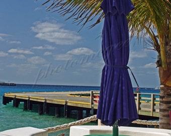 Purple Umbrella on Cozumel Beach