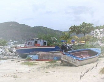 Boat Party in St. Martin - 8x10 - boats, water, caribbean sea, beach