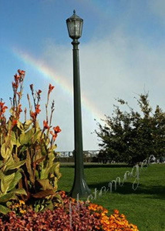 Photograph - Lampost and Rainbow