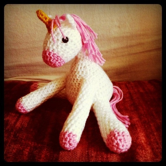 Crocheted Unicorn Doll Made to Order by yayhookdcrochet on Etsy