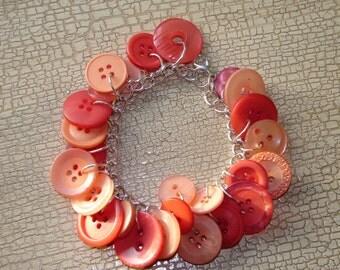 Orange Button Bracelet