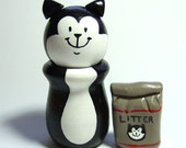 Tuxedo Kitty with Bag of Litter - READY TO SHIP - Wood Figure Collectible - by The Happy Acorn
