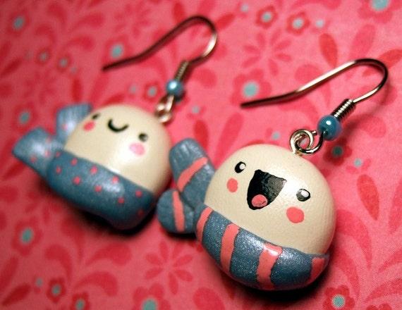 Happy Snowball Earrings Kawaii Jewelry Snowman - READY TO SHIP - Handmade Original by The Happy Acorn