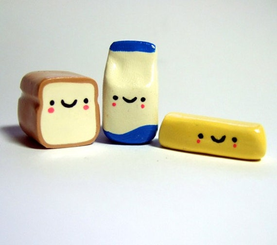Kawaii Happy Loaf of Bread, Container of Milk, Stick of Butter Handmade Figurine Miniature Set