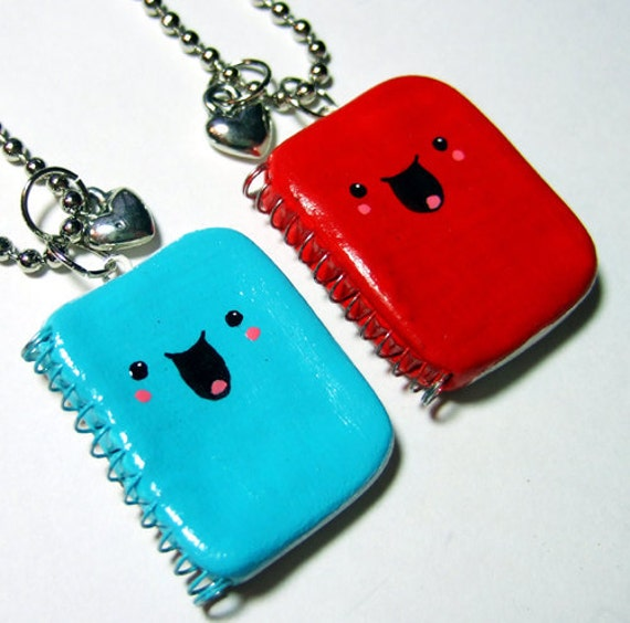 BFF Best Friends Necklaces Kawaii Happy Notebooks - READY to SHIP - Polymer Clay Jewelry - by The Happy Acorn