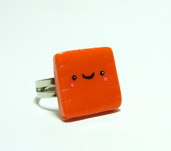 Kawaii Cheese Cracker Adjustable Ring - Polymer Clay Miniature Food Jewelry - by The Happy Acorn