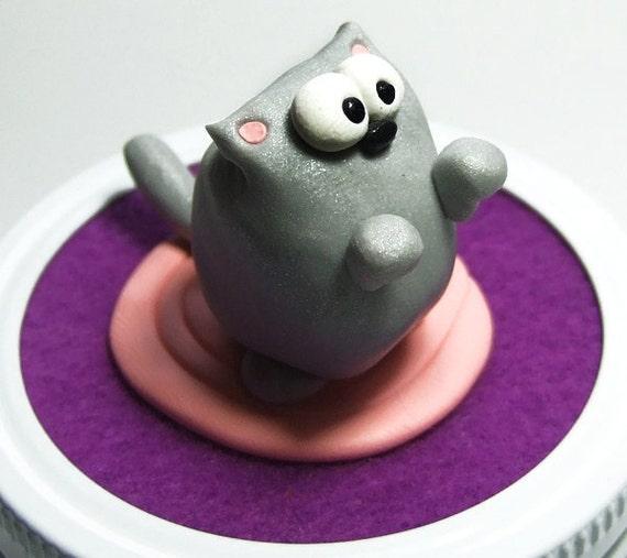 Kitty Cat Keepsake Mason Jar - Quilted Crystal Jelly Jar - Handmade by The Happy Acorn