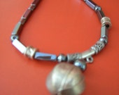 Silver and gray hermatite bead necklace