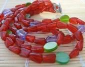 Orange, purple, green three-strand beadwork necklace