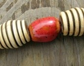 Earth tone ceramic and spiral wood bead necklace
