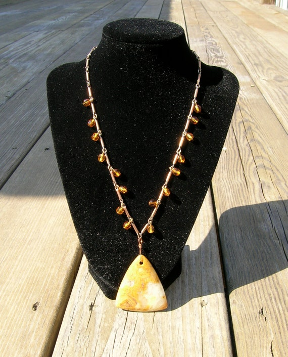 Cooper chain necklace, dangly amber beads, agate pendant--bohemian elegance