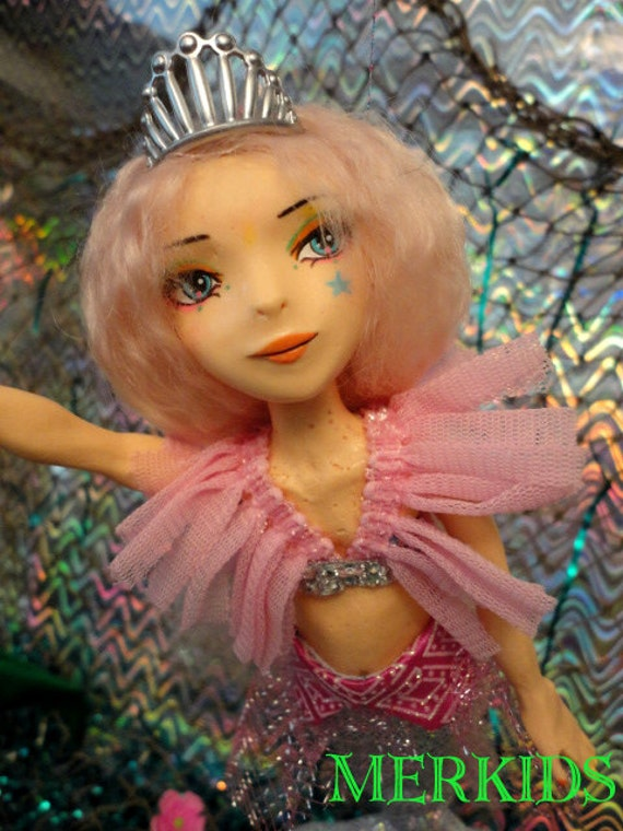 OOAK Original Custom Mary Magpie art MerKids mermaid doll yellow girl