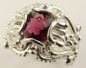 Raspberry Tourmaline in a Rather Victorian Ring