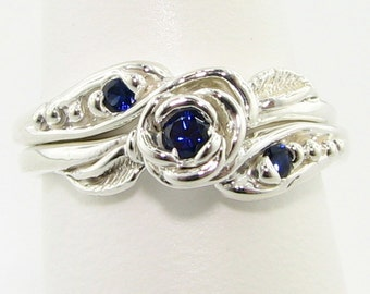 Silver Tea Rose Wedding Set, Silver & Premium Sapphire