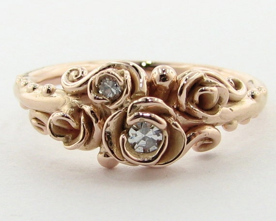 Renaissance Rose Ring, Diamonds in Pink Gold