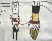 Winding Wool, hand embroidery pattern, friendship, yarn, knitting, crochet, wool, tree