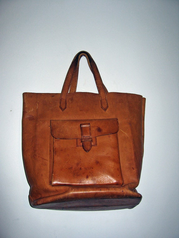 vintage 40s / 50s distressed caramel LEATHER tote bag POLAND