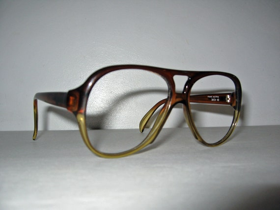 vintage plastic Aviator glasses frames OPTYL Playboy 1970s brown ombre