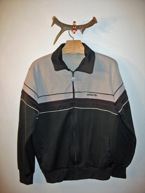 Vintage 1980s Jacket Adidas Gray Trefoil Track Jacket