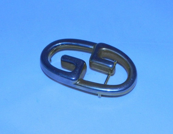 vintage 1970s GUCCI GG belt buckle // gold silver Gucci Italy